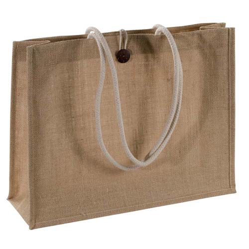 Jute bag with robust cord grips, gusset and a closing loop - Natural mac-67536