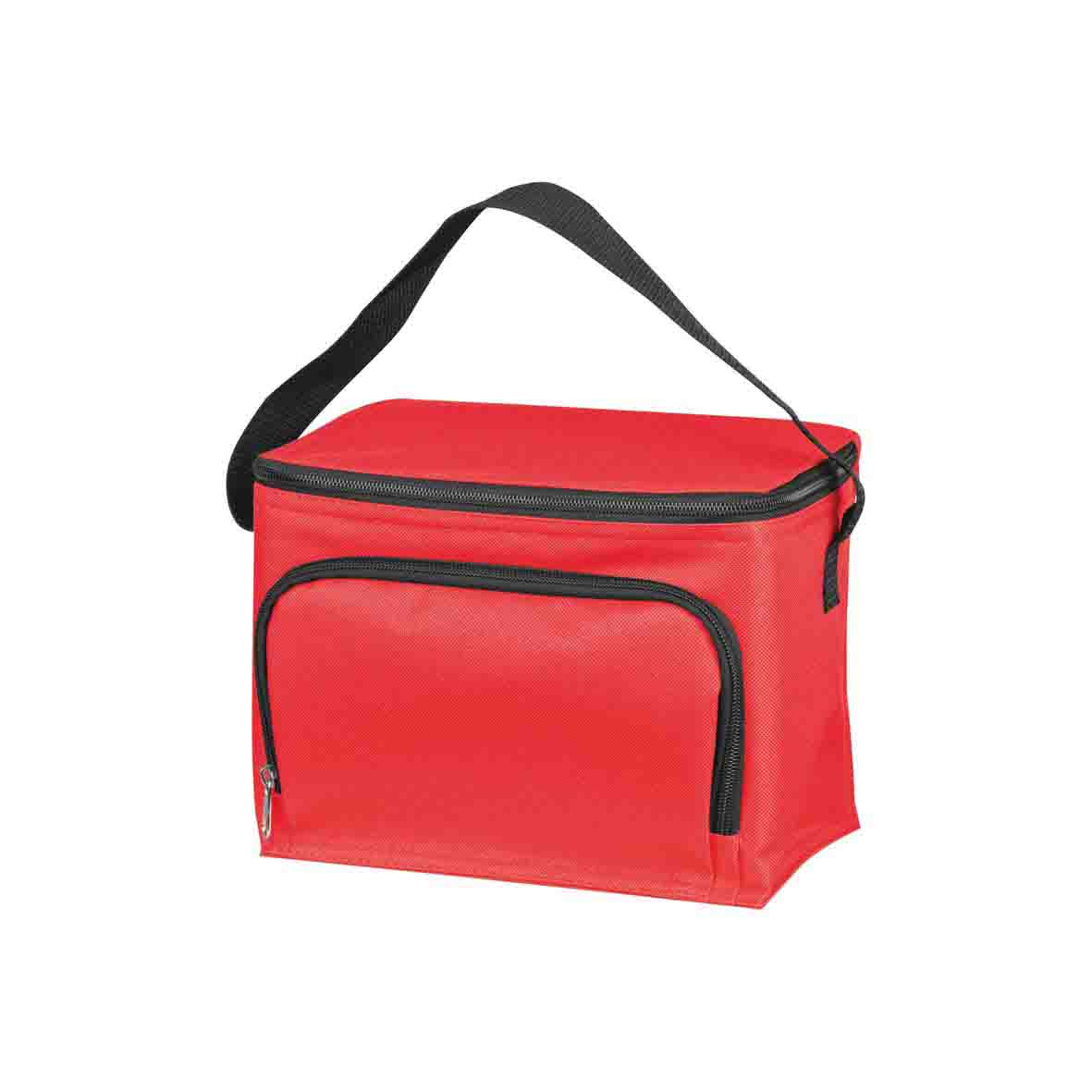 210D polyester cooler bag with a zippered front compartment and nylon carrying straps - Red mac-6832105