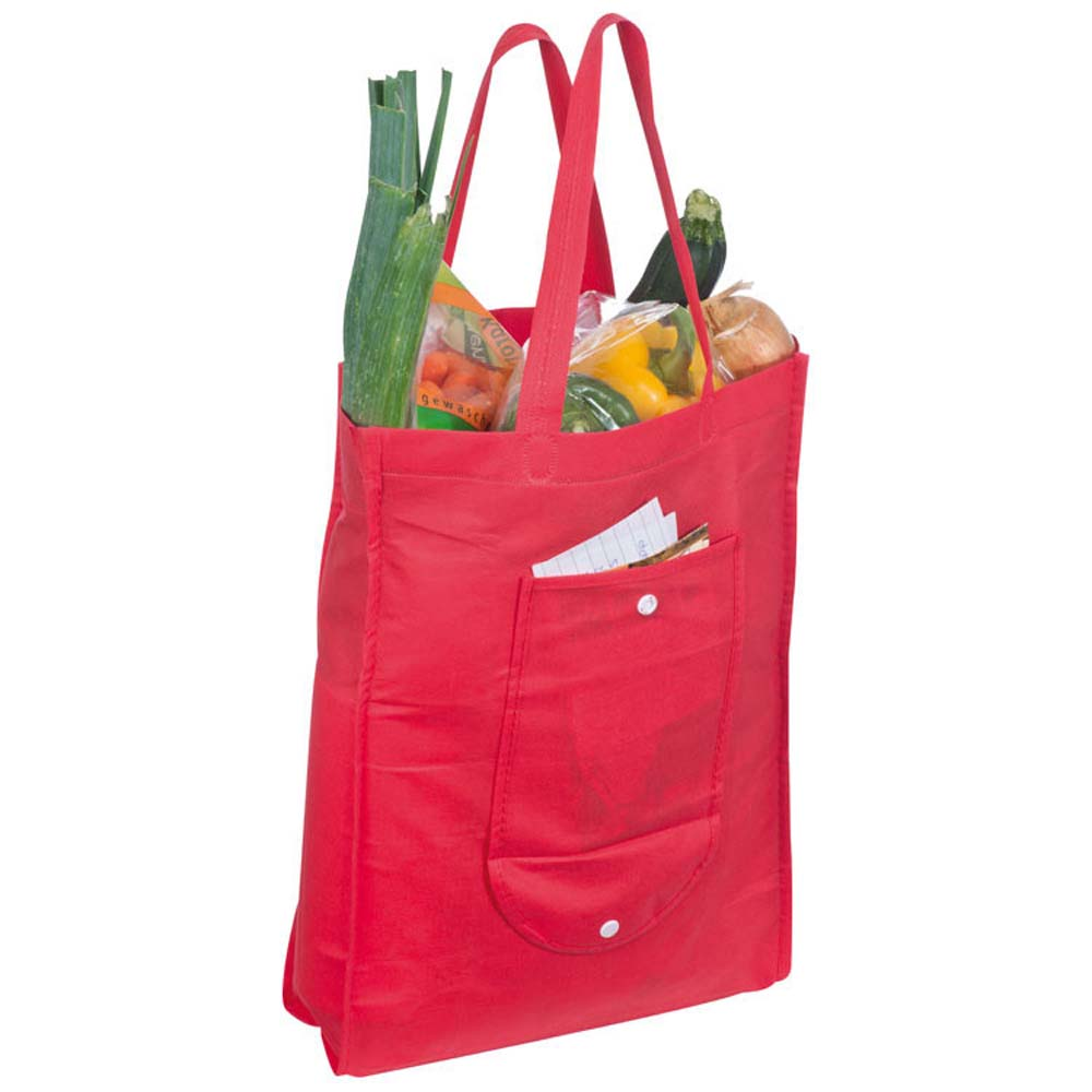 Foldable non-woven shopping bag with press stud. - Red mac-6879205