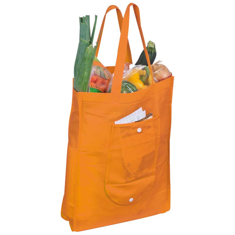 Foldable non-woven shopping bag with press stud. - Orange mac-6879210
