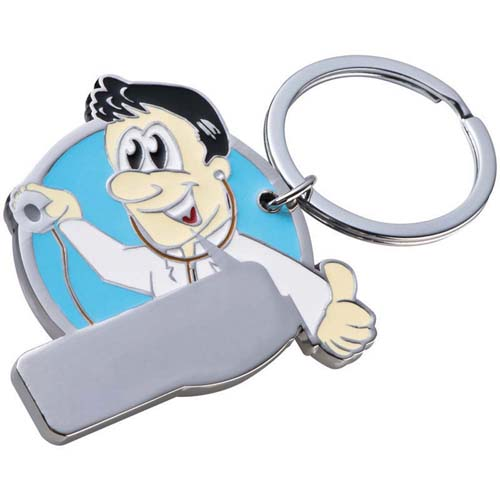 Metal key ring manikin with coloured front. - Light blue mac-9348124
