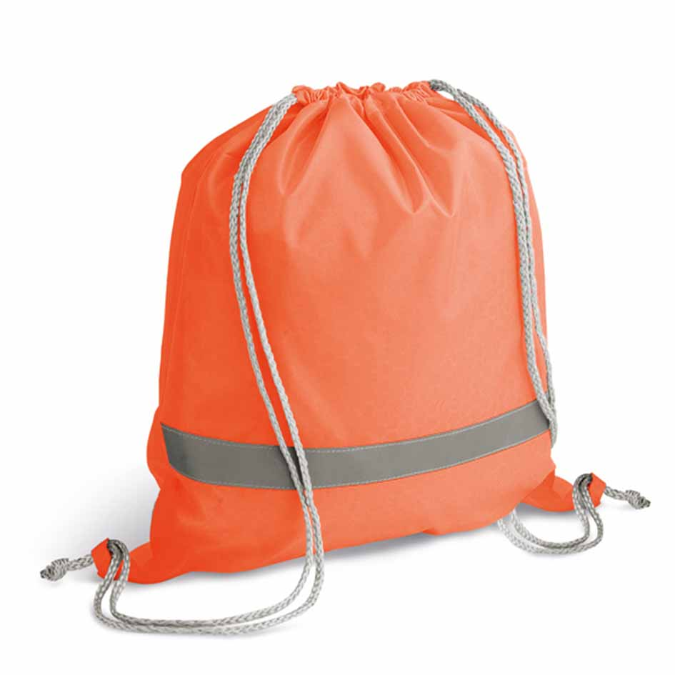 210D polyester drawstring backpack with reflective strip - Orange mk-108 or