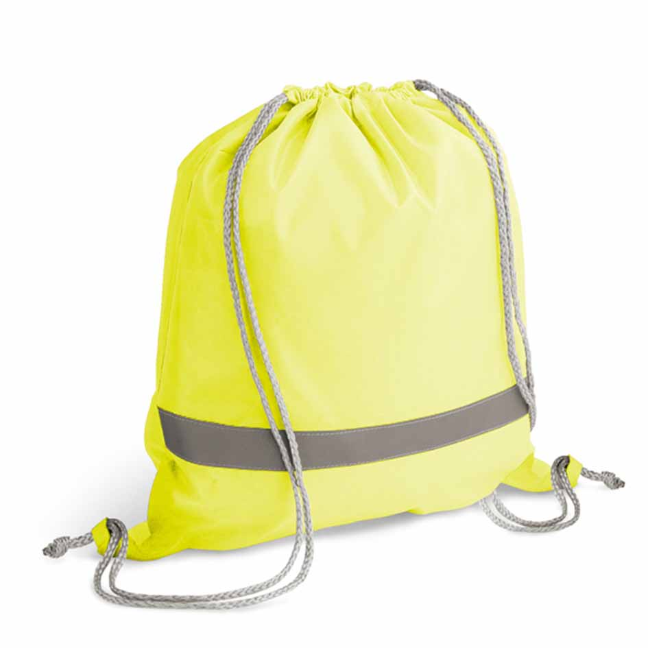 210D polyester drawstring backpack with reflective strip - Yellow mk-108 y
