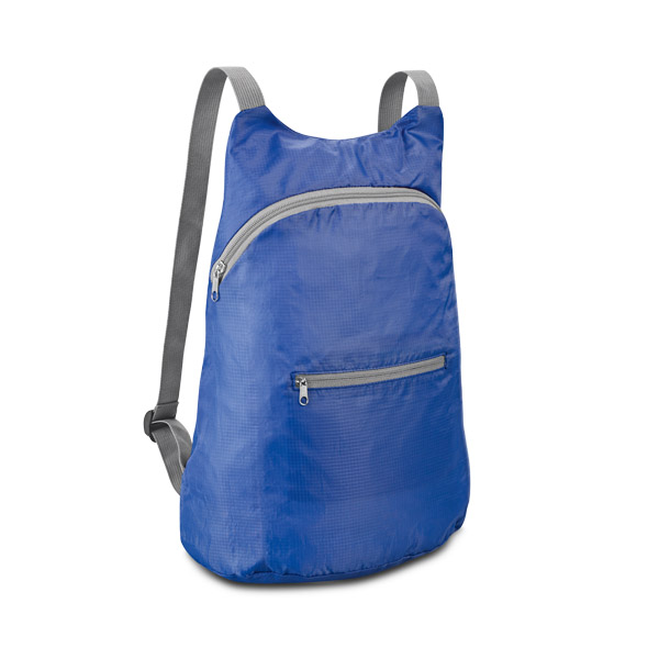 210D ripstop foldable backpack with front pocket - Blue mk-146 bl