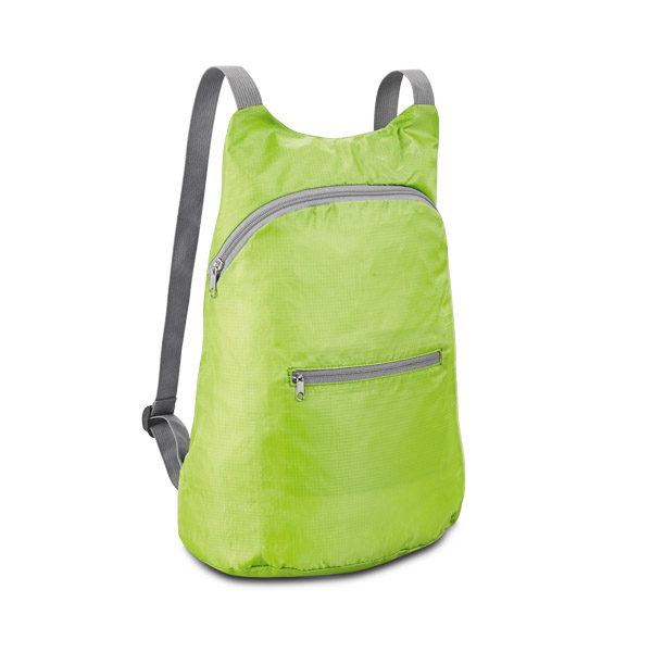 210D ripstop foldable backpack with front pocket - Light Green mk-146 lgr