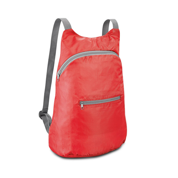 210D ripstop foldable backpack with front pocket - Red mk-146 r