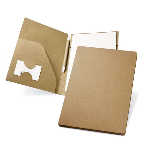 A4 cardboard folder with pen and a 20-page recycled plain sheet notepad. Cardboard: 450 g/m². - Natural mk-148 na