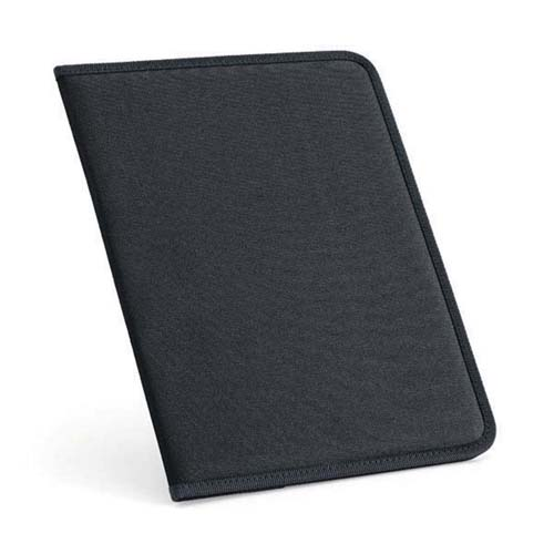 600D polyester A4 folder with lined note pad - Black  mk-1804 bk