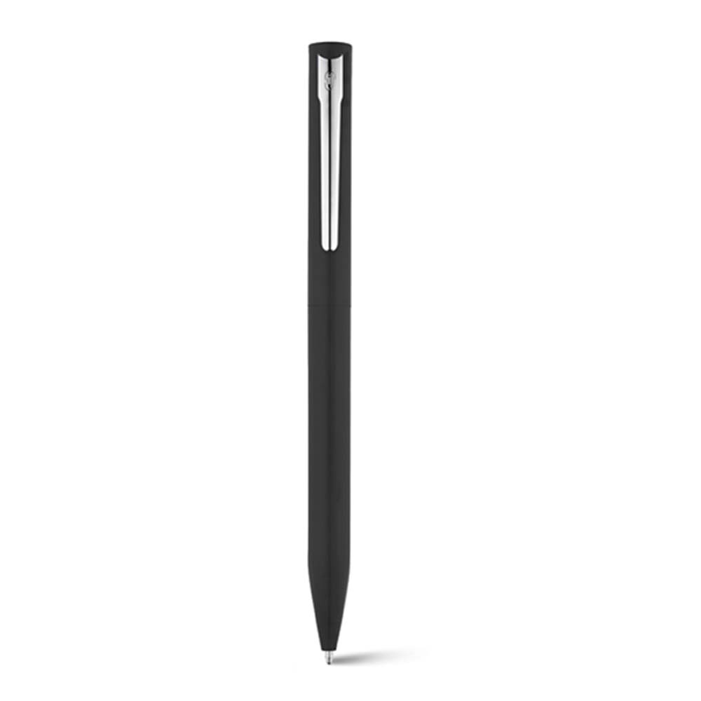 Aluminium ballpoint pen with twist mechanism. Iron clip with shiny chrome plating. Lacquered body with shiny finish. Supplied in a gift case. - Black mk-1826 bk
