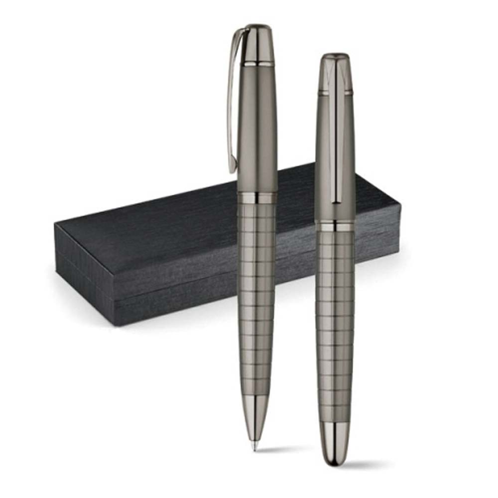 Metal roller pen and ballpen set - Gun Metal mk-1855 gm