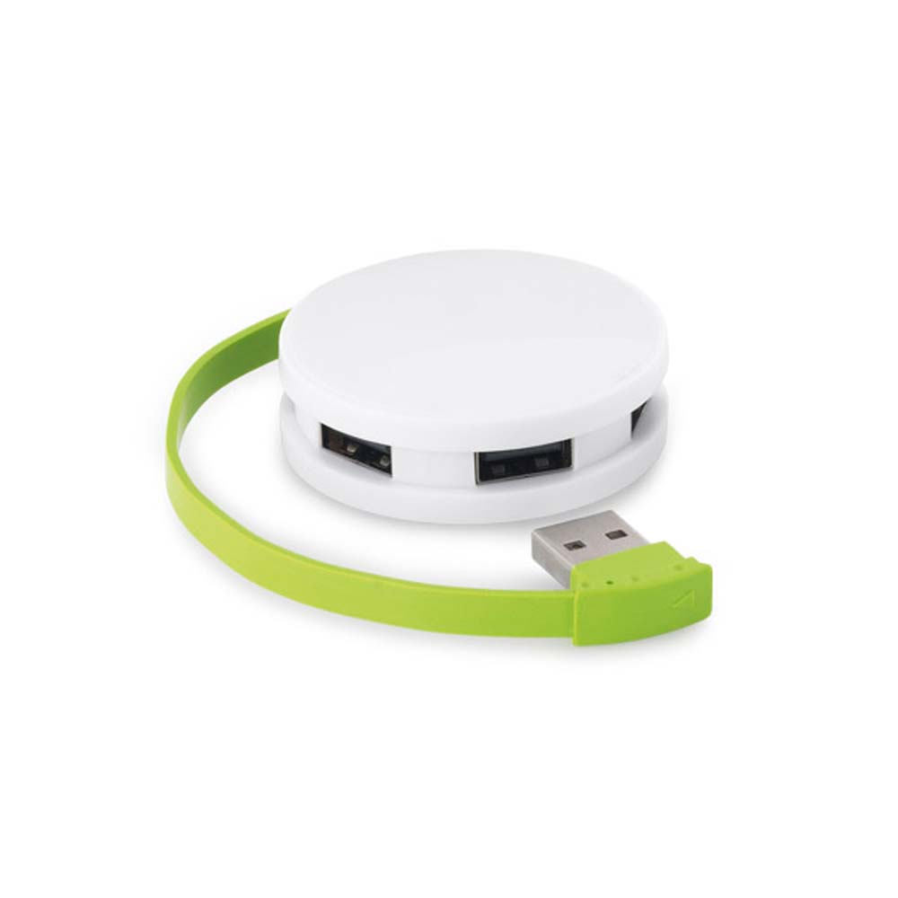 2.0 ABS USB hub with four ports - Light Green mk-1865 lgr