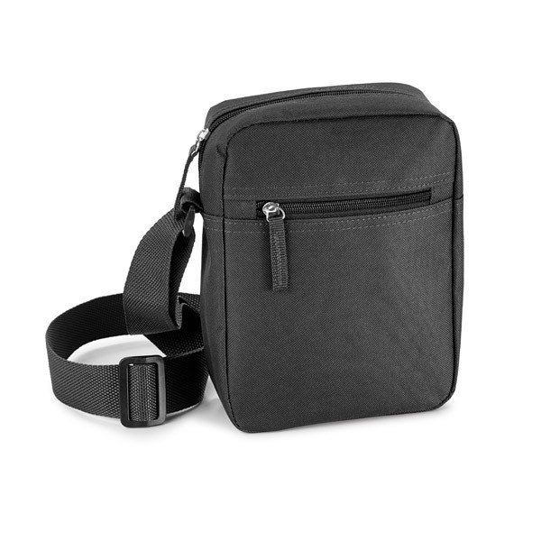 600D shoulder bag with front pocket and adjustable shoulder strap. - Black mk-1893 bk