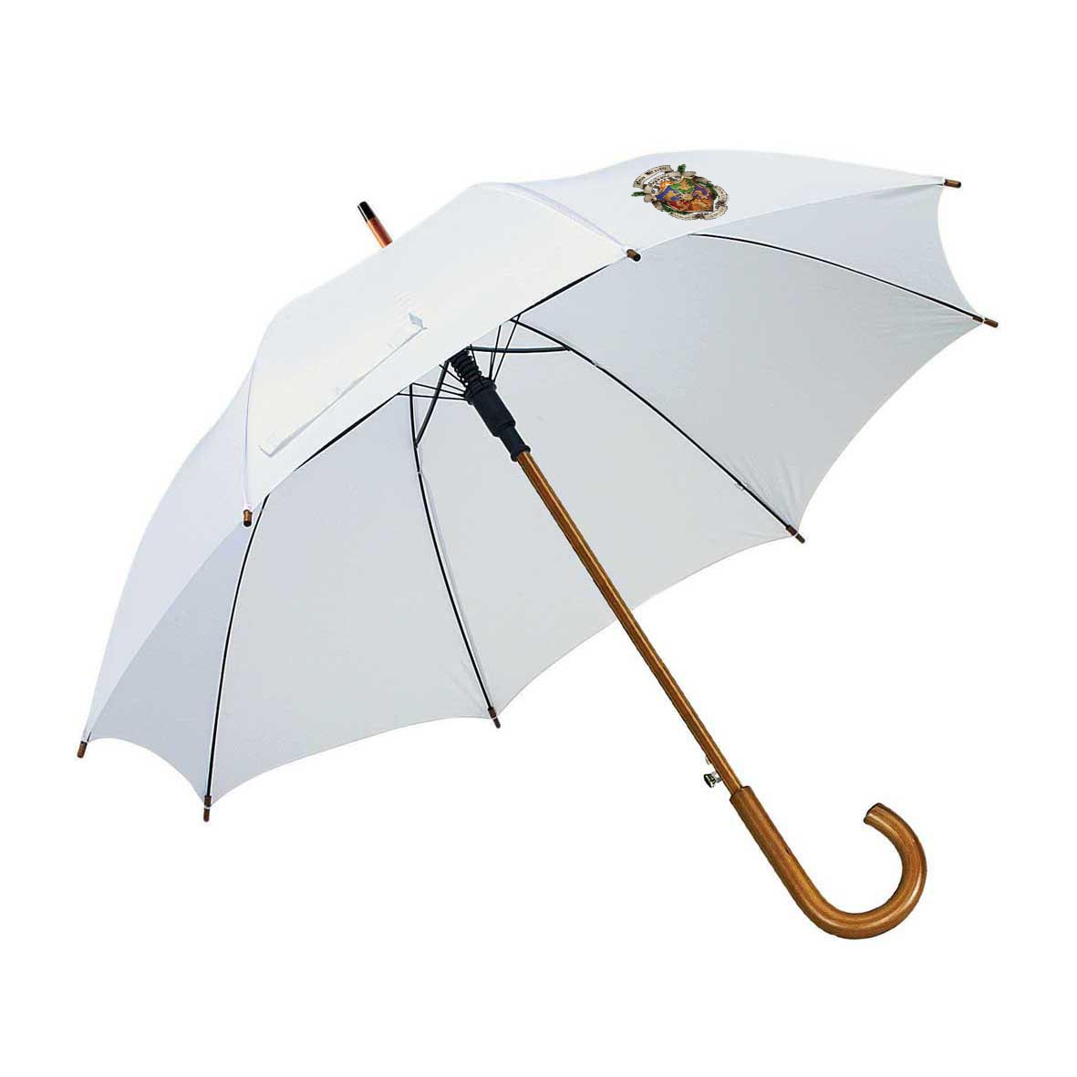 Automatic wooden stick umbrella - White ns-927 w subl