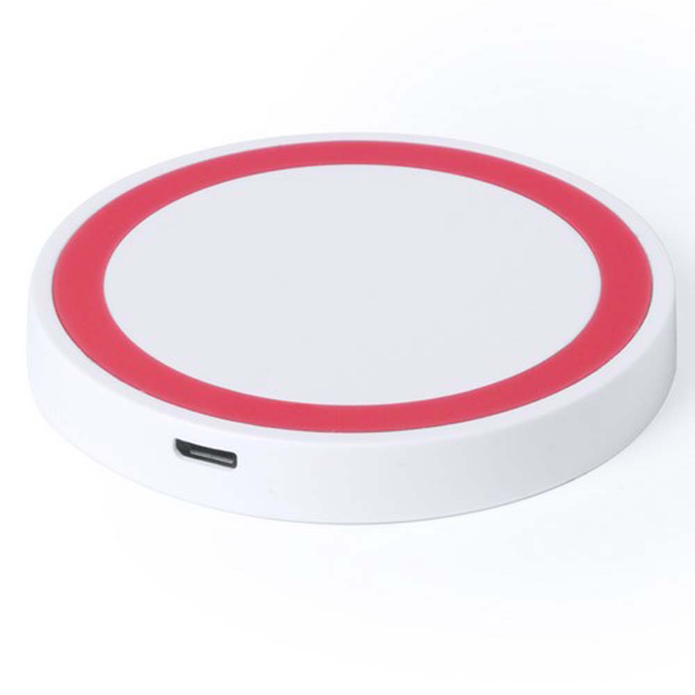 Bicoloured round wireless charger with QI technology pf-532403