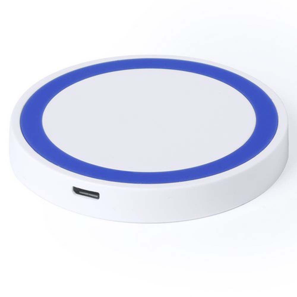 Bicoloured round wireless charger with QI technology. - Royal Blue pf-532419