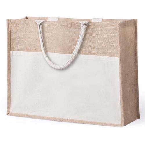 Jute bag with cotton front pocket - Natural pf-5725