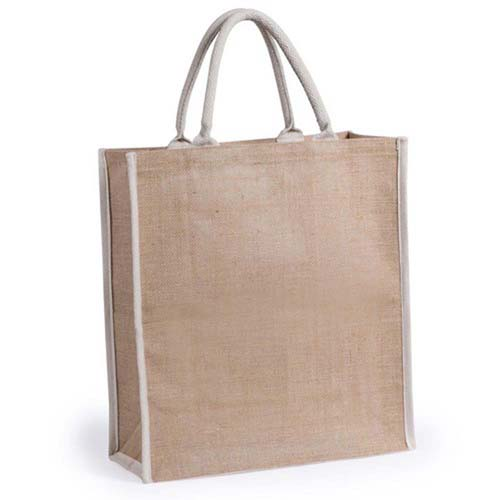 Jute bag with short white, reinforced cotton handles. - Natural pf-5736