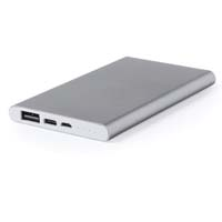 4000 mAh, high charging capacity external auxiliary battery. In aluminum, with charging indicators and connections for micro USB and type C power output. Presented in an attractive design box. - Silver pf-577709