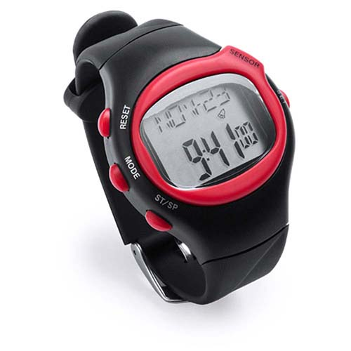 Bold design, sports digital pulse watch with LCD display - Red pf-969003