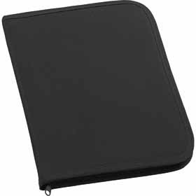 600D polyester conference folder with zip - Black sip-0099902