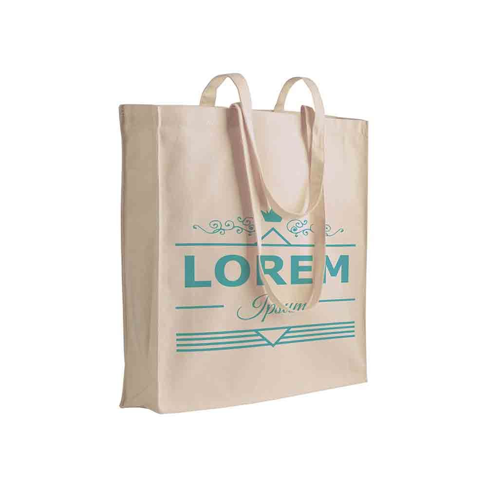 Canvas shopping bag (280 g/m²) with long handles and gusset. - Natural sip-0710722