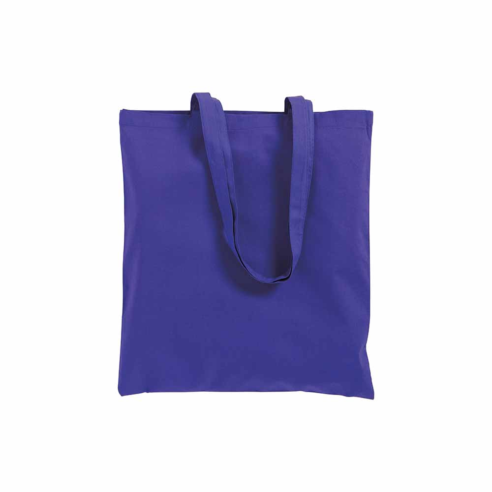 Cotton shopping bag (220 g/m²) with long handles and gusset. - Purple sip-0712535