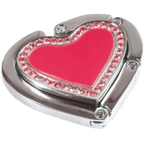 Codice 12907 Metal bag hanger with 2 magnets and crystals in a gift box. Size 4,6 x 4,1 cm - Red sip-1290703
