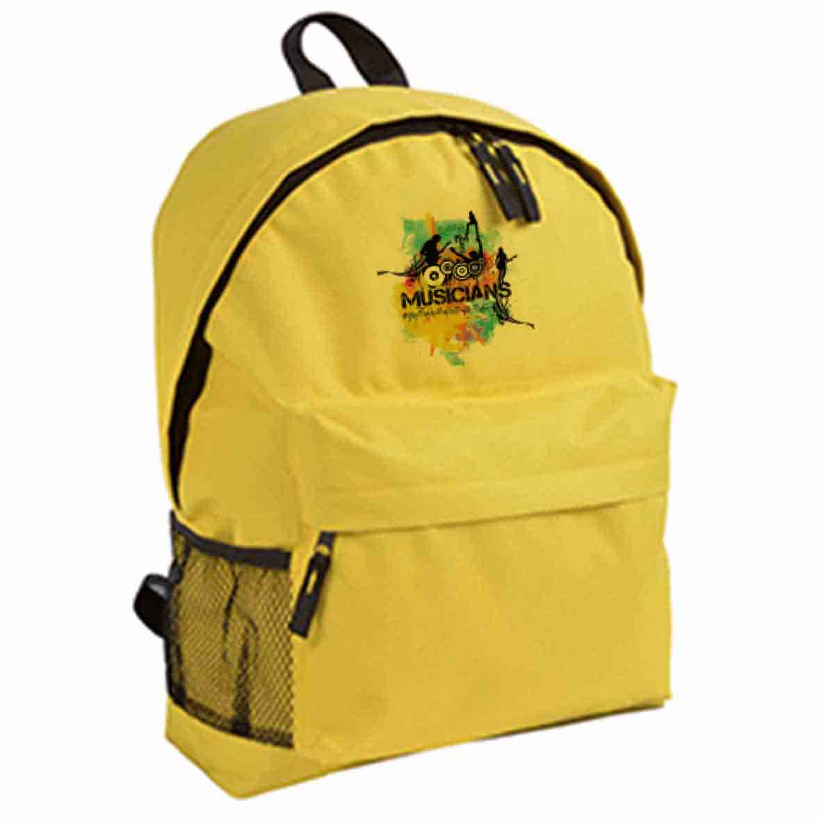 600d polyester backpack with zipped front pocket  - Yellow sip-1310106 subl