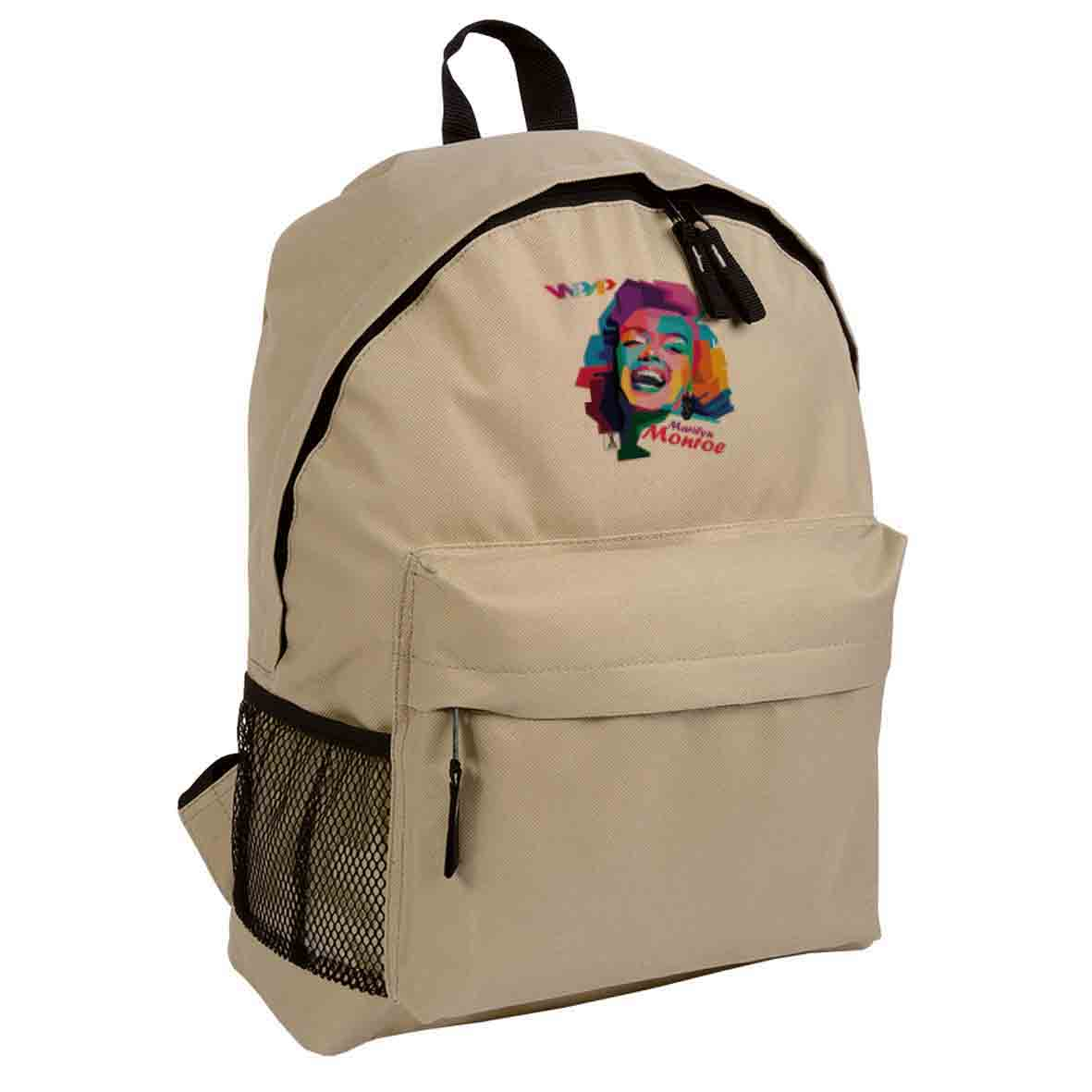 600d polyester backpack with zipped front pocket  - Beige sip-1310122 subl