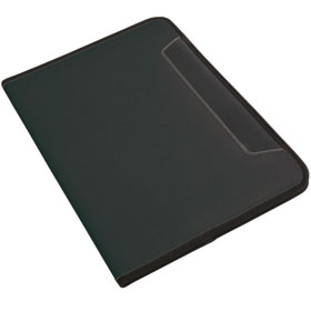 600D polyester conference folder with lined note pad, inner pocket and pen loop. - Black sip-1412402
