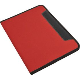 600D polyester conference folder with lined note pad, inner pocket and pen loop. - Red sip-1412403