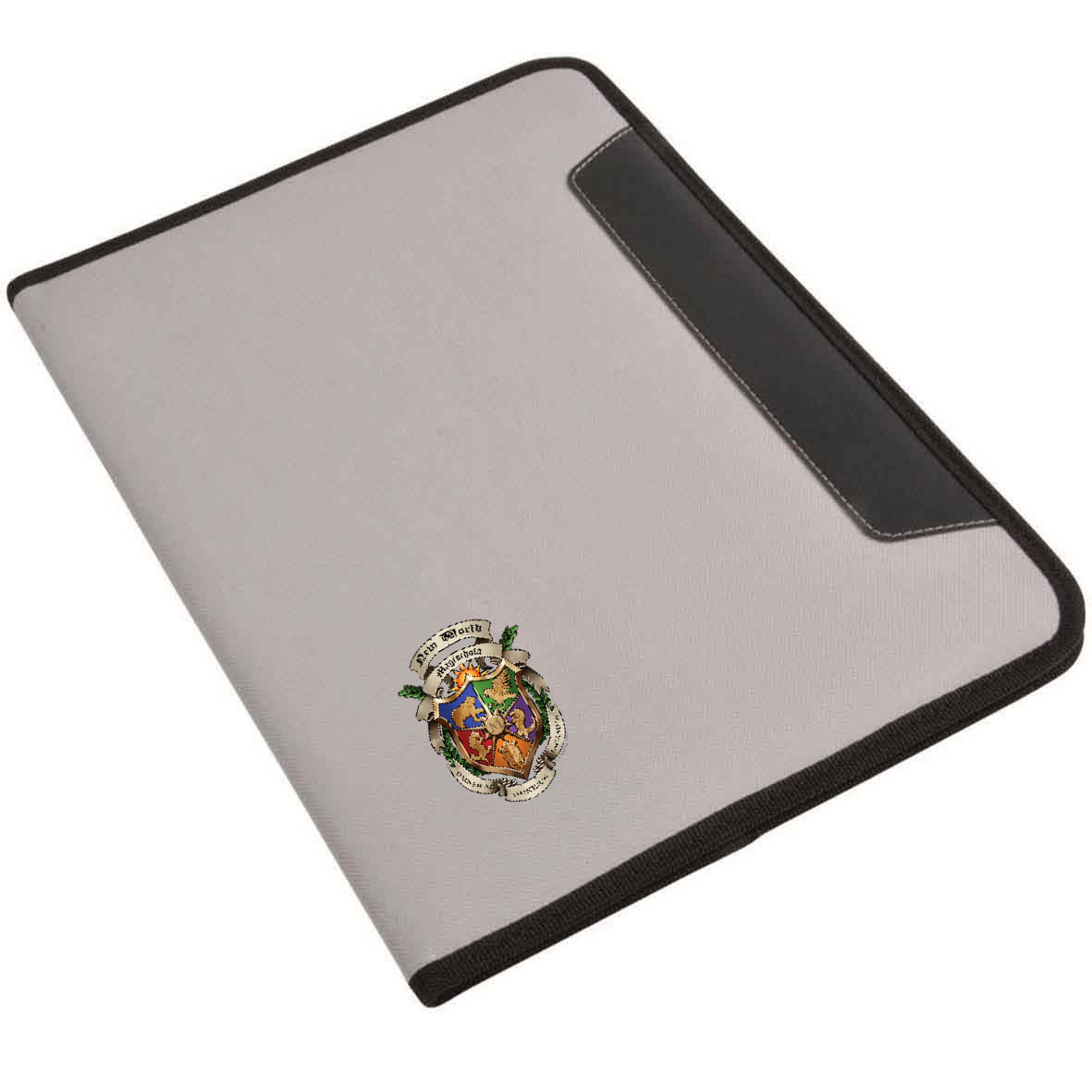 Polyester conference folder with  note pad, inner pocket and pen loop - Grey sip-1412408 subl