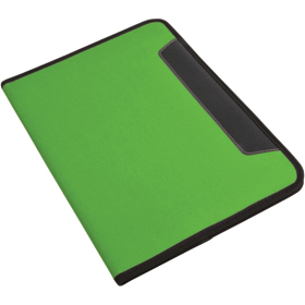 600D polyester conference folder with lined note pad, inner pocket and pen loop. - Apple Green sip-1412444