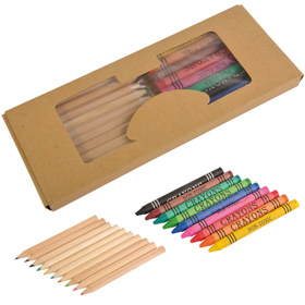 10 coloured pencils and 9 crayons in case. Size 18,2 x 7,5 cm. sip-14814