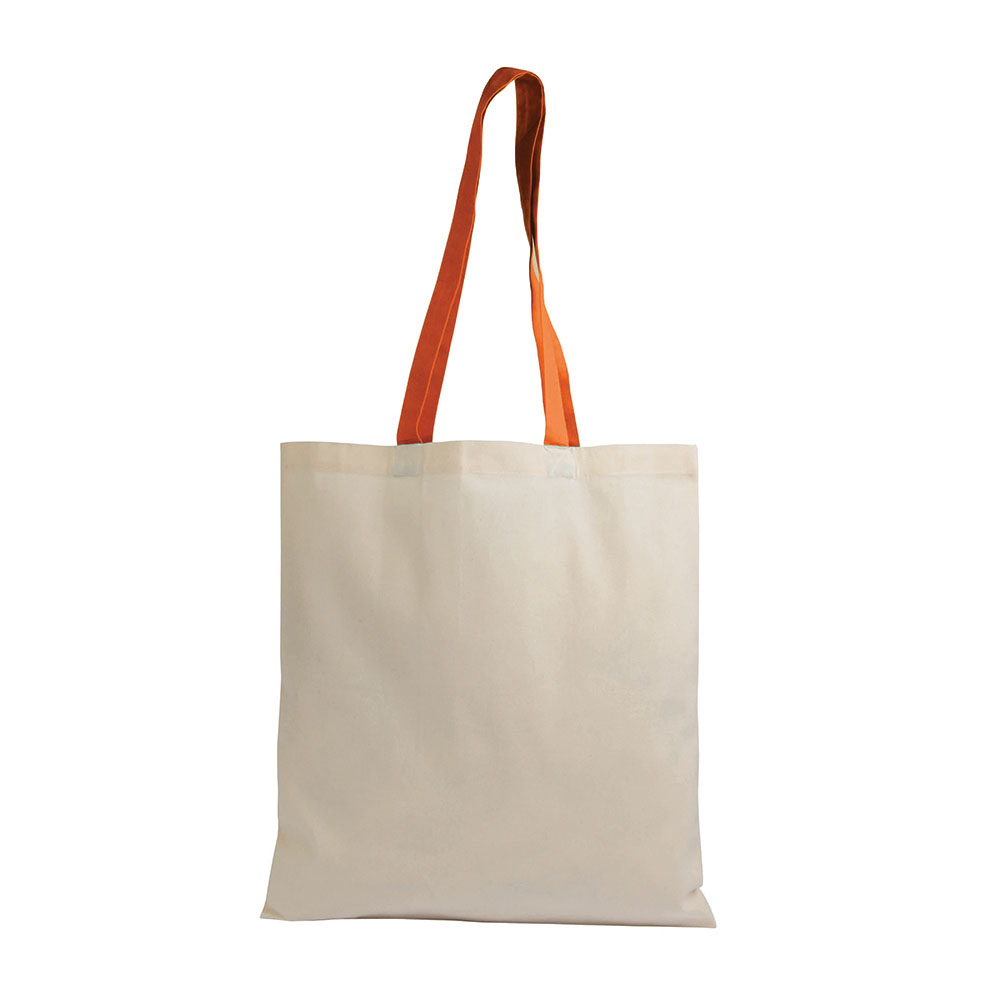 Cotton bag with coloured long handles  sip-1612207