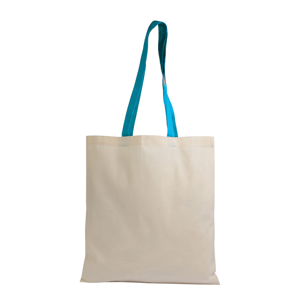Cotton bag with coloured long handles  sip-1612215