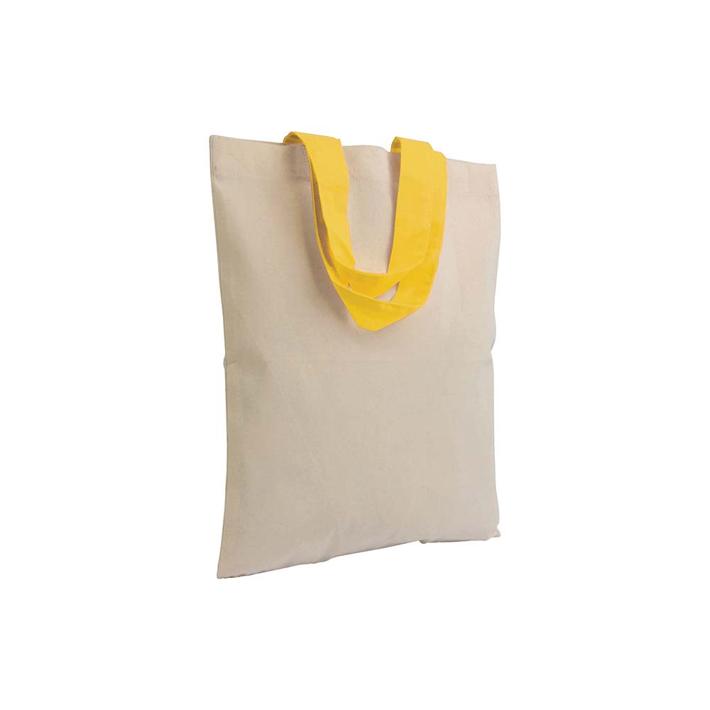 Ecru cotton mini shopping bag (135g/m²) with short coloured handles -Yellow sip-1612306