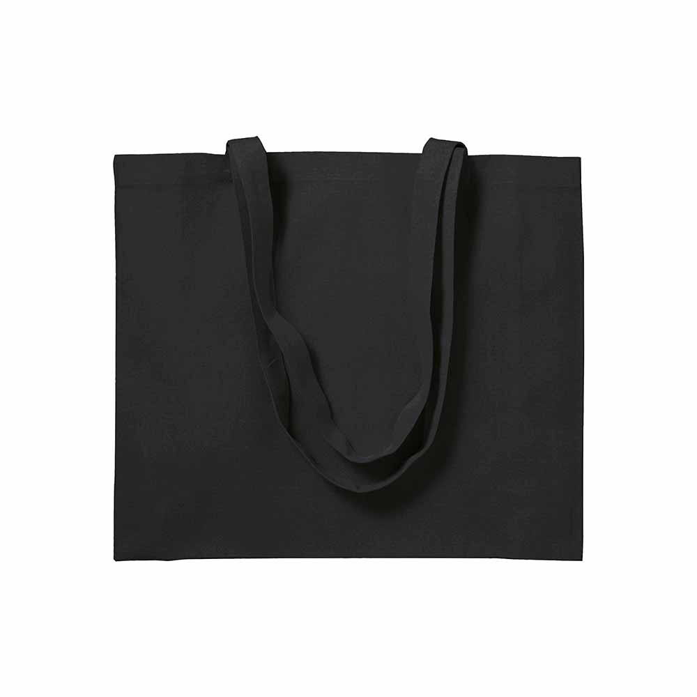Cotton shopping bag (200 g/m²) with long handles and gusset. - Black sip-1711202