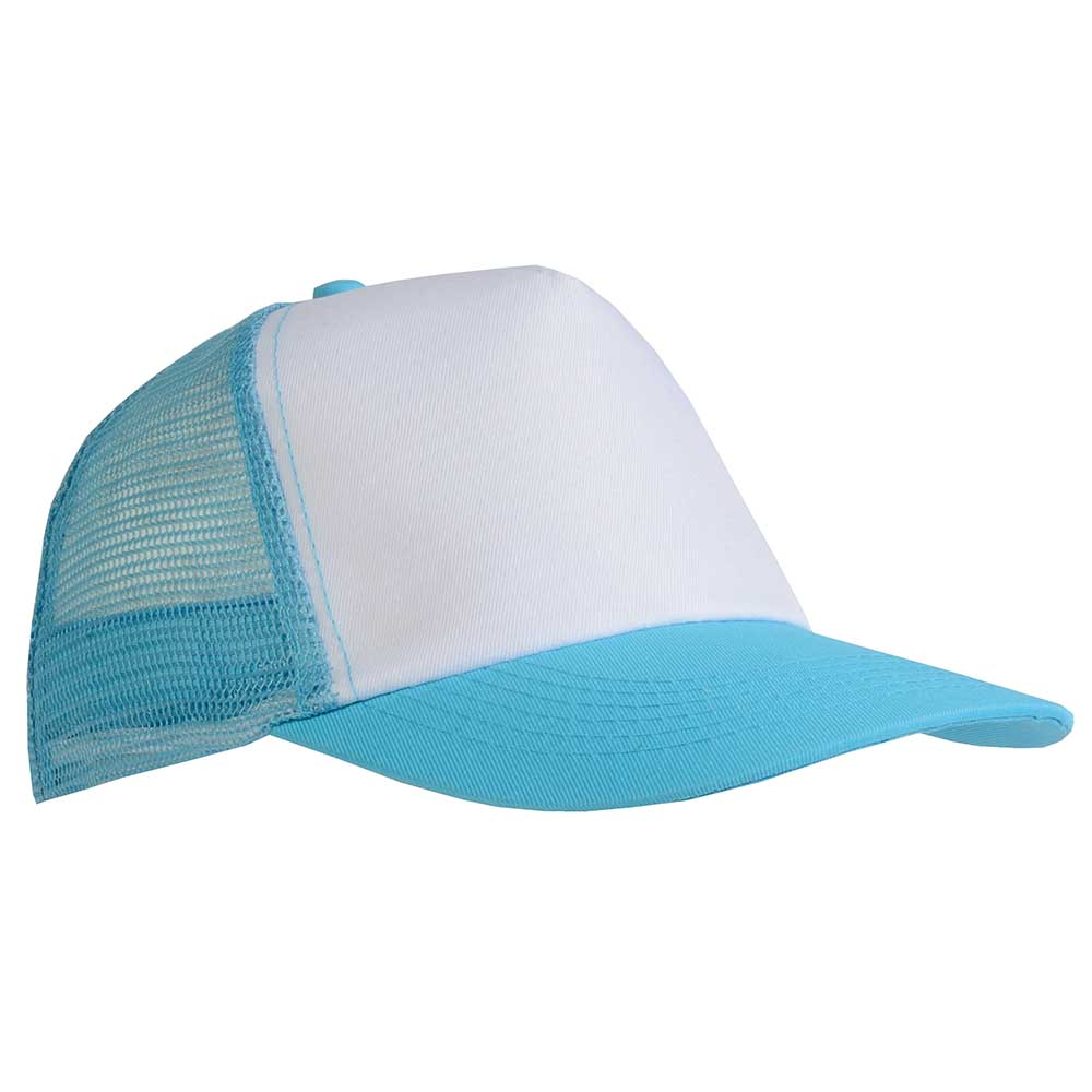 5 panel polyester cap with mesh. -  Sky Blue sip-1730115