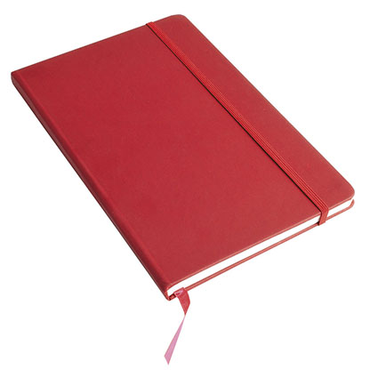 A5 Note book with soft PU cover, ribbon marker and elastic band for closing - Red sip-1747503