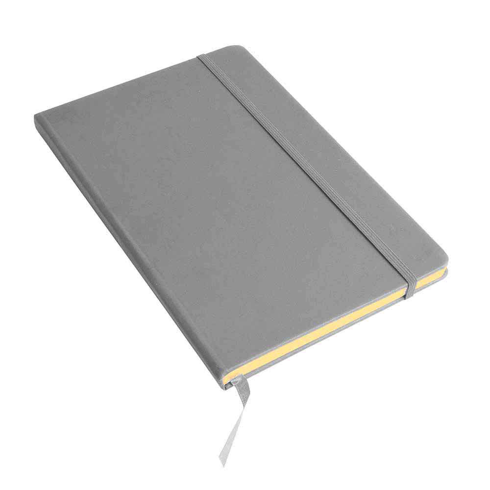 A5 Note book with soft PU cover, ribbon marker and elastic band for closing - Silver-Grey sip-1747509