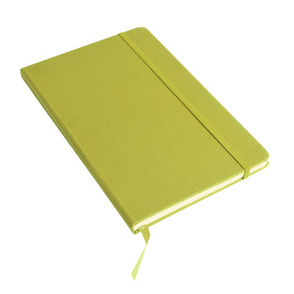 A5 Note book with soft PU cover, ribbon marker and elastic band for closing - Apple Green sip-1747544