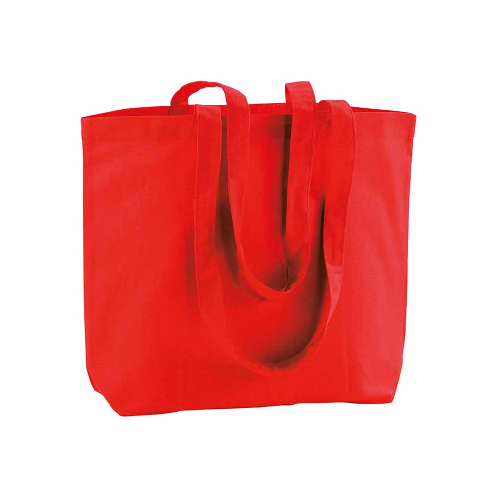 Cotton shopping bag (120 g/m²) with long handles and gusset. - Red sip-1810803