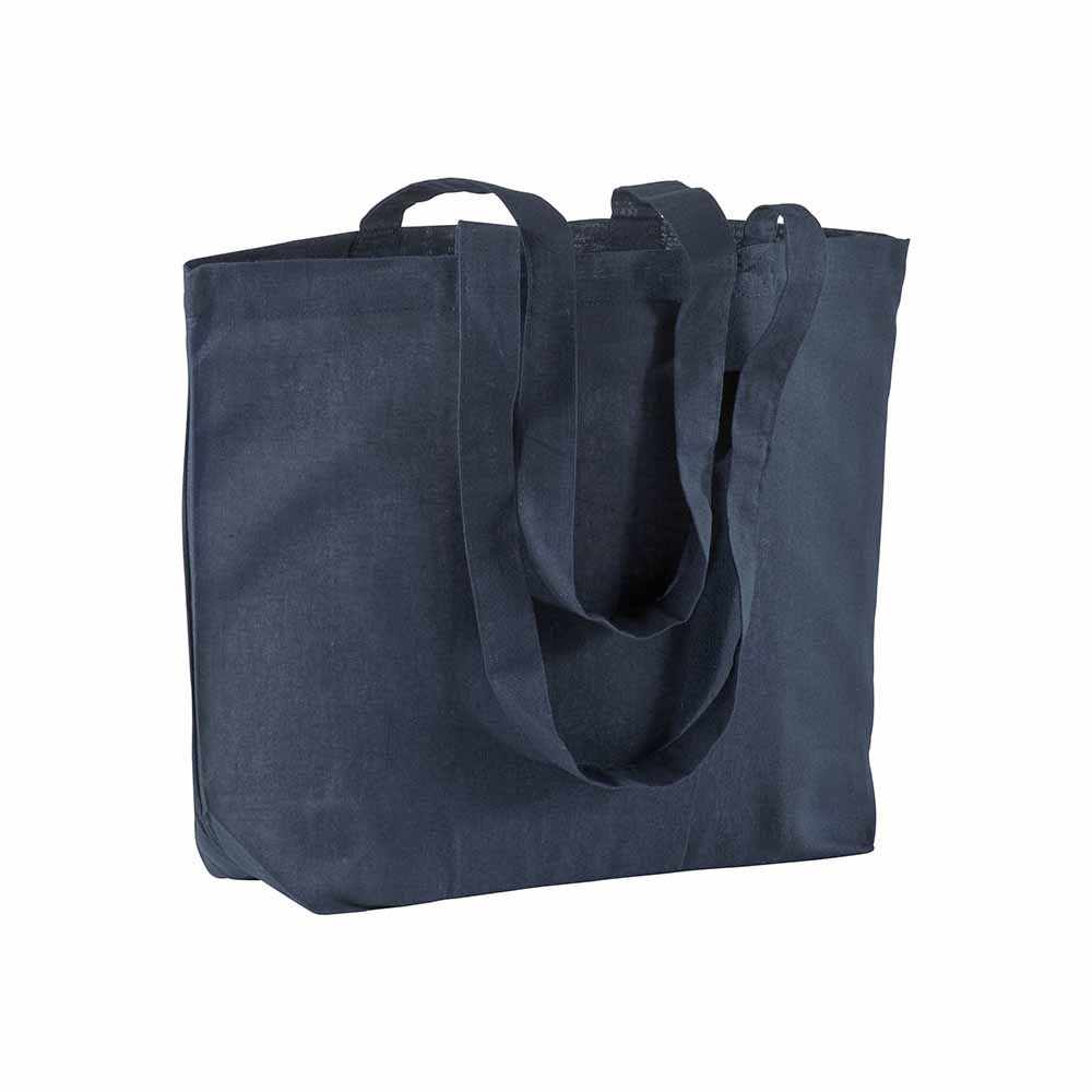 Cotton shopping bag (120 g/m²) with long handles and gusset. - Blue sip-1810805
