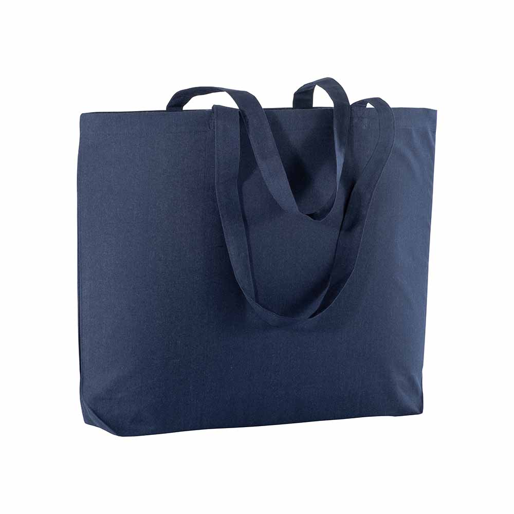Cotton shopping bag (135 g/m²) with long handles and gusset. - Blue sip-1810905